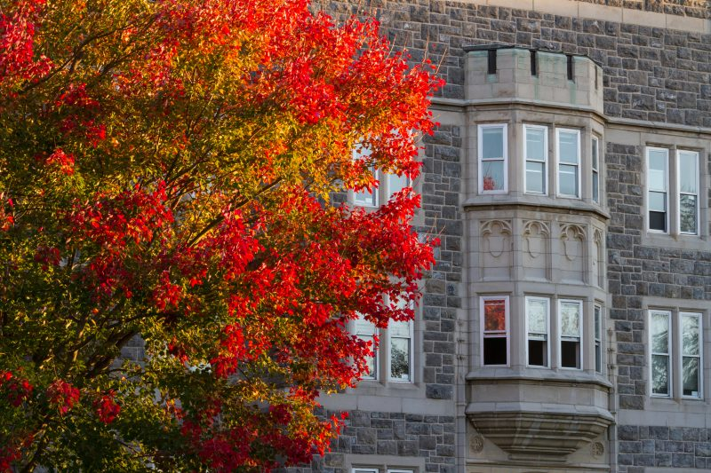campus building in fall